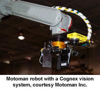Motoman robot with a Cognex vision system, courtesy Motoman Inc.